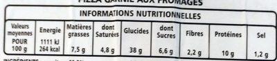 Pizza à pâte fine 3 fromage - Informations nutritionnelles - fr