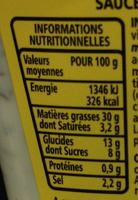 Sauce sauce frites - Informations nutritionnelles