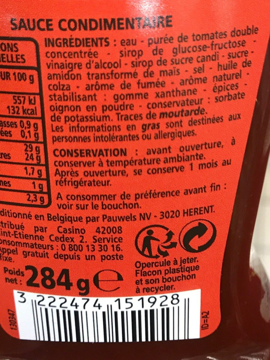 Sauce Barbecue - Ingrediënten - fr