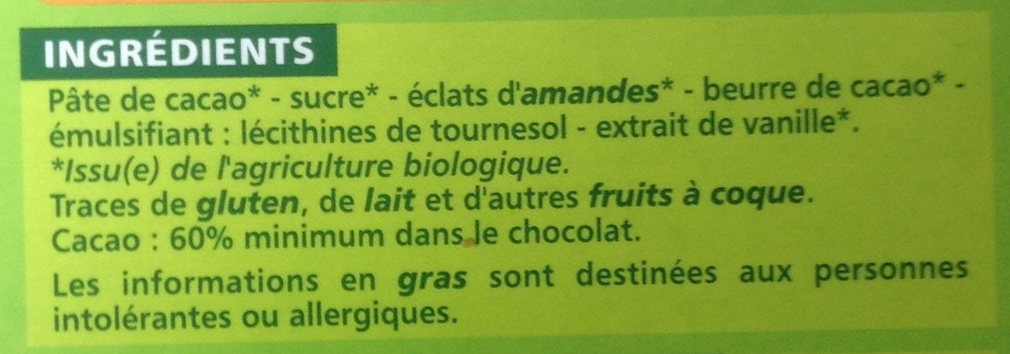 Chocolat noir amande bio - Ingredients