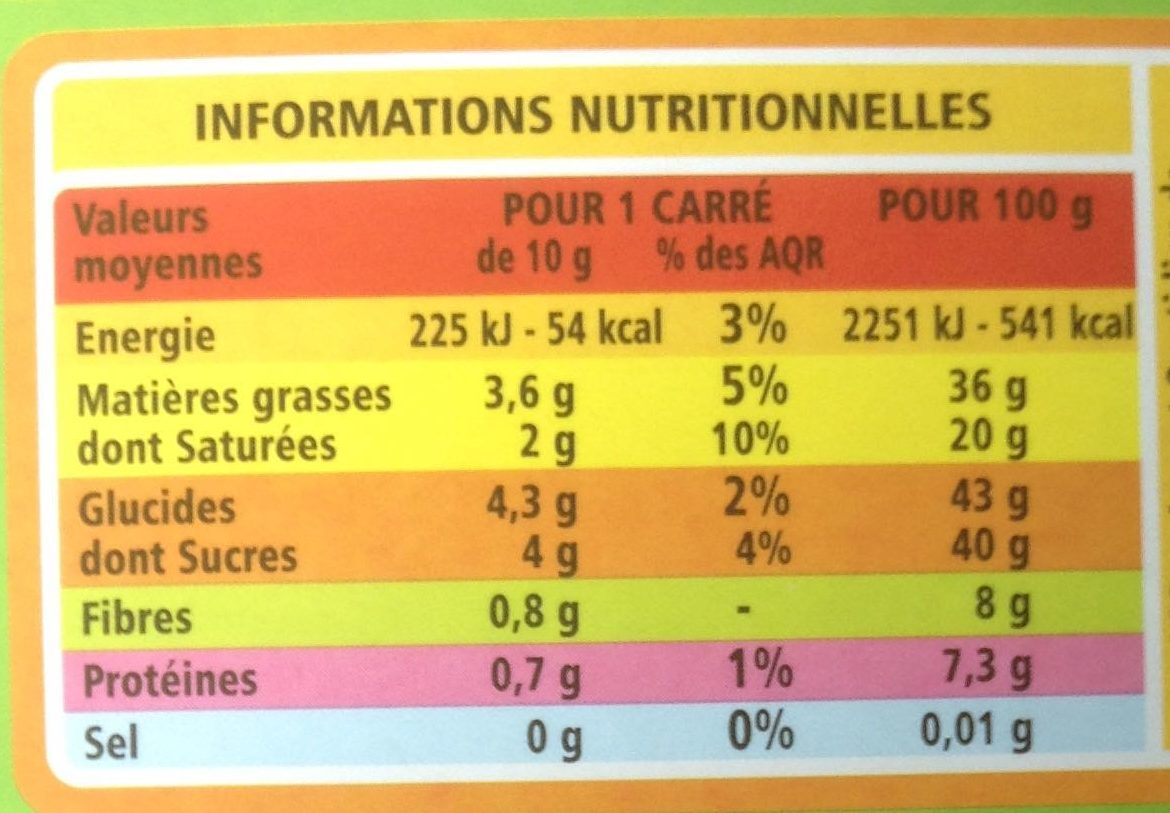 Chocolat noir amande bio - Nutrition facts
