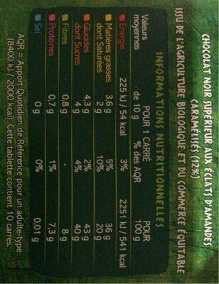 Chocolat noir amande bio - Informations nutritionnelles - fr