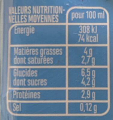 Légère & Fluide 4% MG - Informations nutritionnelles - fr