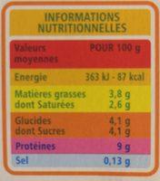 Le petit fromage frais - Voedingswaarden - fr