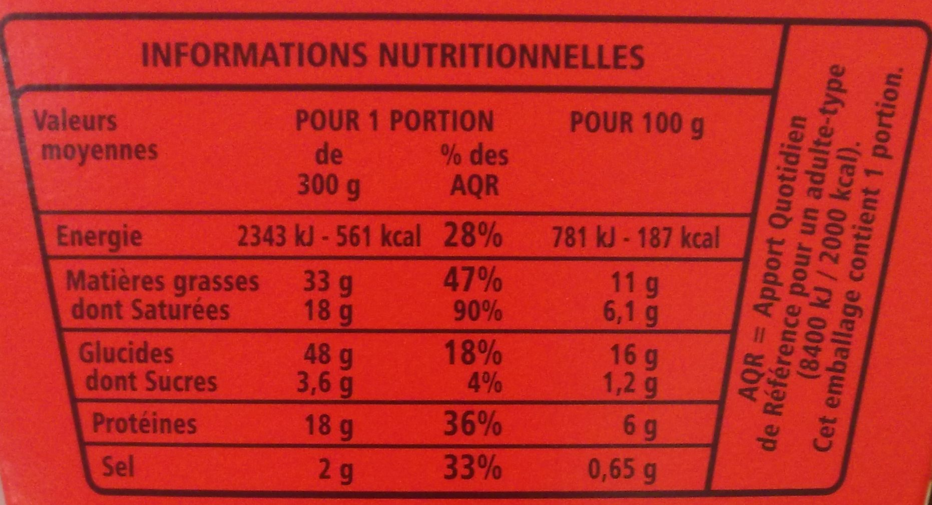 Box Fusilli à la carbonara - Nutrition facts - fr