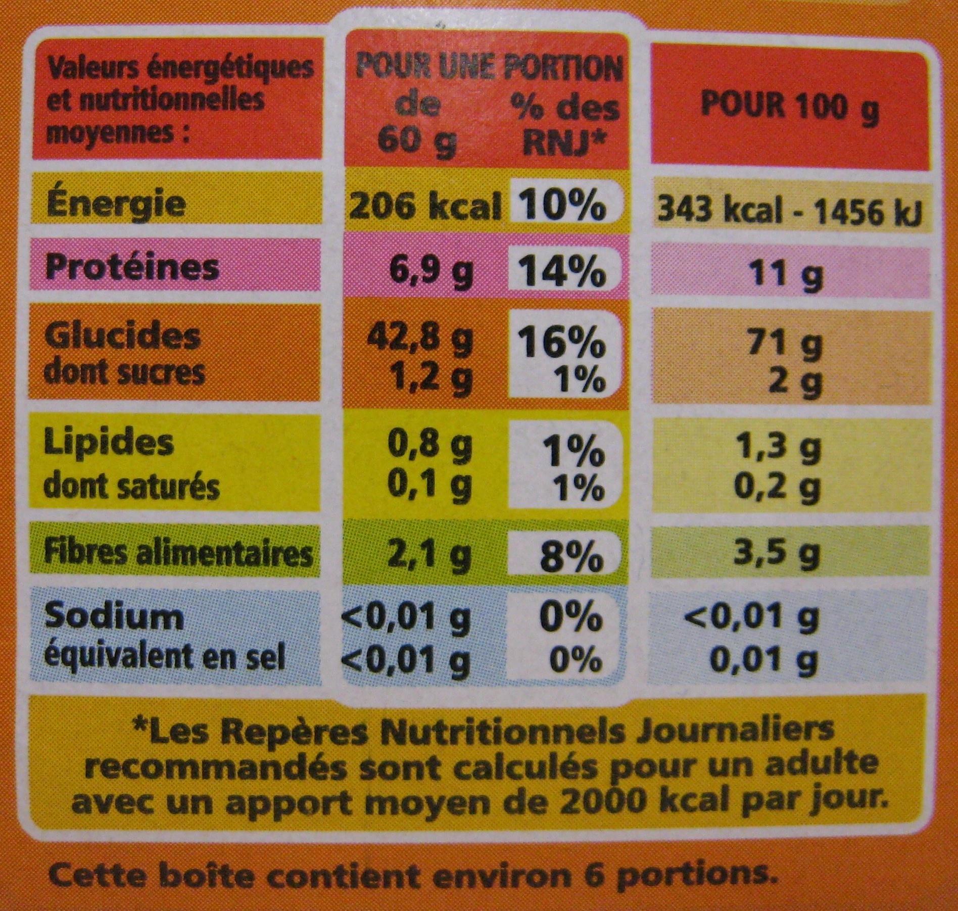 Semoule semi-complète Bio Casino - Nutrition facts - fr