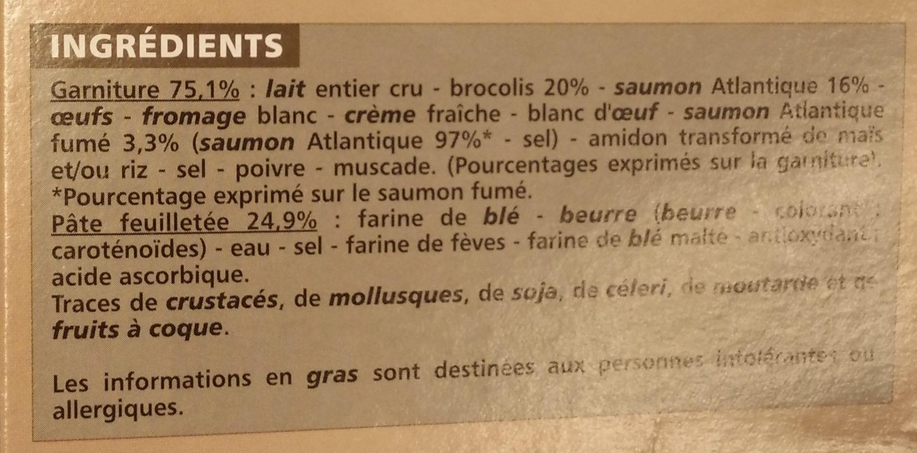 Quiche saumon bocolis - Ingrédients - fr