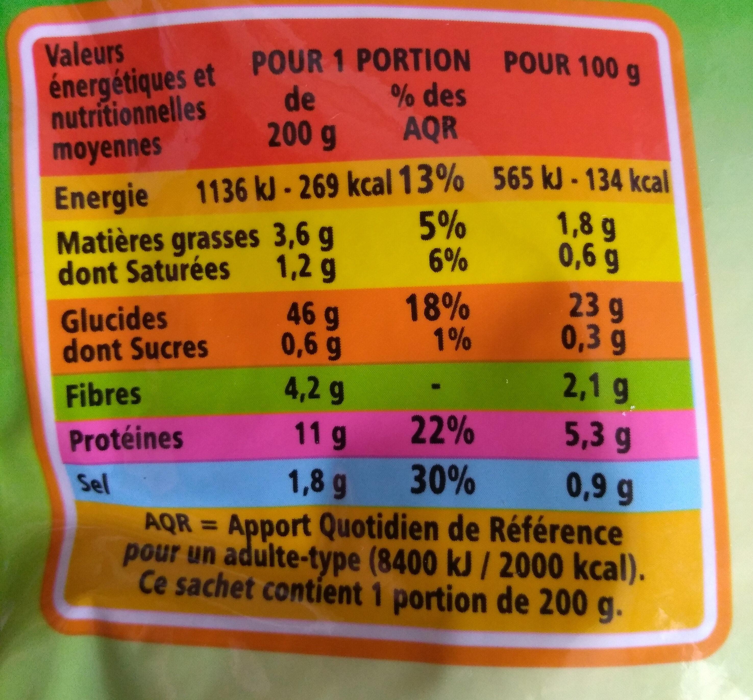 Coquillettes au Beurre - Nutrition facts - fr