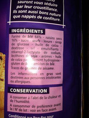 Toasts briochés aux raisins - Ingredients - fr