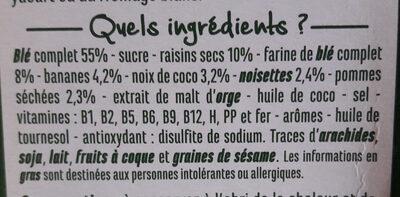 Fruits et Fibres - Ingrediënten - fr