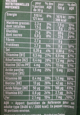 Fruits et Fibres - Voedingswaarden - fr