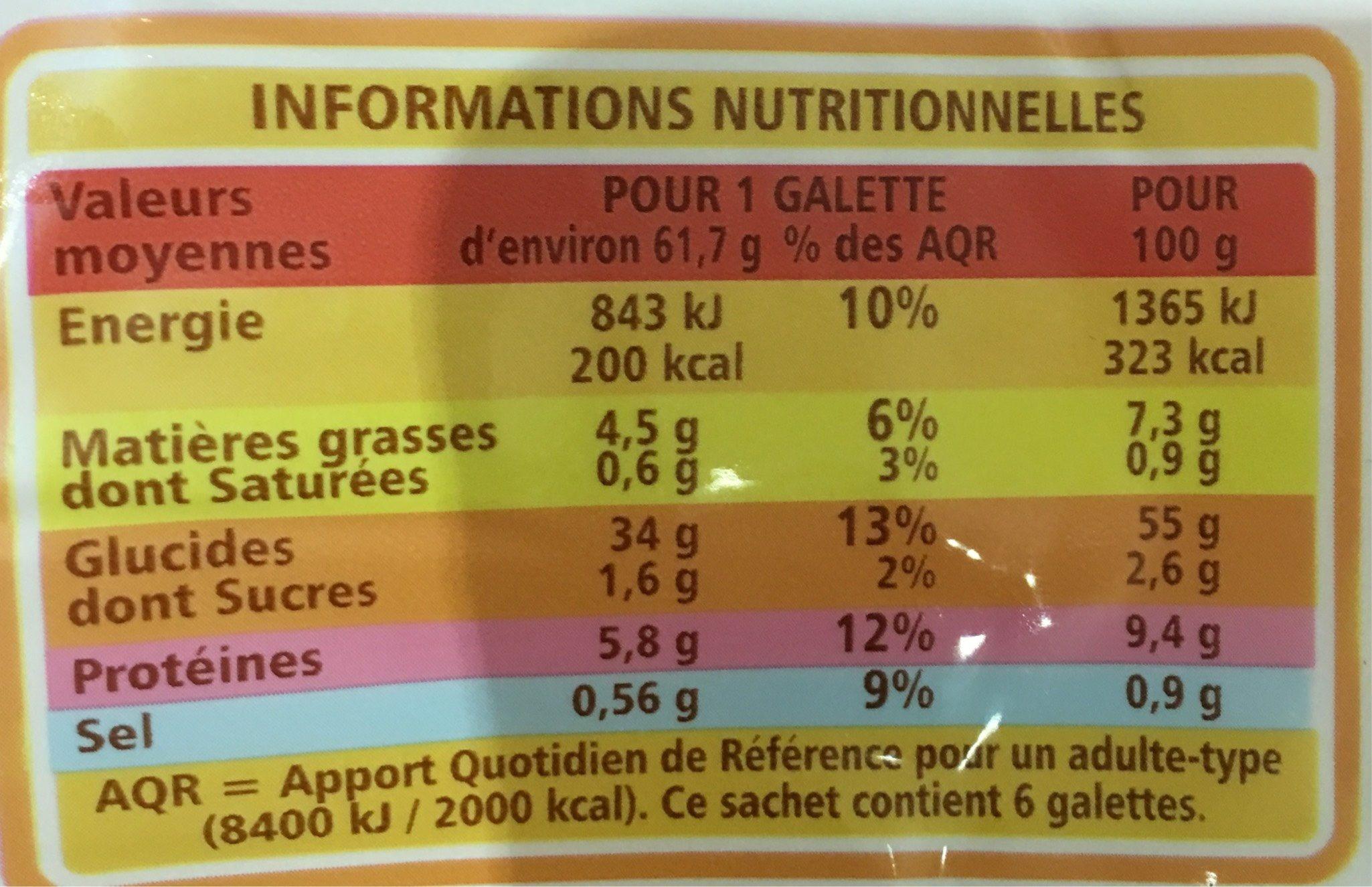 Wraps - 6 galettes - Nutrition facts