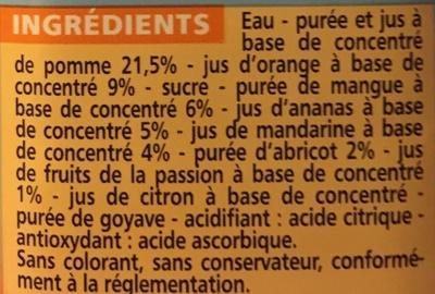 Exotique - Teneur en fruits 50% minimum - Nectar multifruits à base de jus et de purées de fruits concentrés - Ingredients