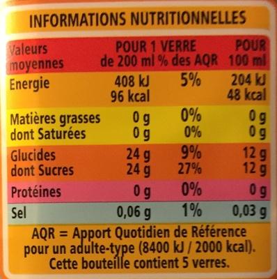 Exotique - Teneur en fruits 50% minimum - Nectar multifruits à base de jus et de purées de fruits concentrés - Nutrition facts
