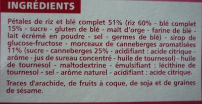 Barres riz & blé complet Fruits rouges - Ingrédients - fr
