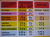 Barres riz & blé complet Fruits rouges - Informations nutritionnelles - fr