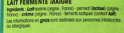 Lait fermenté - Ingrédients - fr