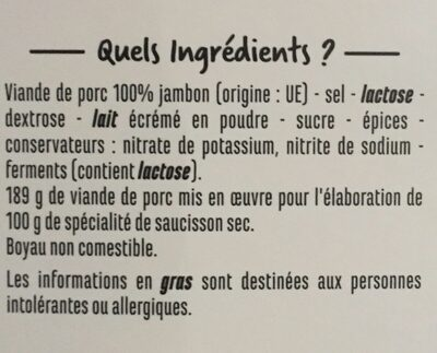 Spécialité de saucisson sec 100% jambon - Ingrediënten