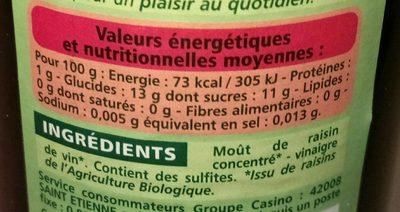Vinaigre Balsamique de Modène biologique - Voedingswaarden