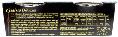 L'éblouissant Tiramisu au spéculoos - Brisures de spéculoos pur beurre - Nutrition facts