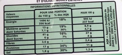Pizza à pâte fine jambon-emmental - Nutrition facts