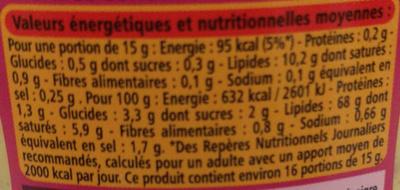 Sauce samouraï piquante - Informations nutritionnelles