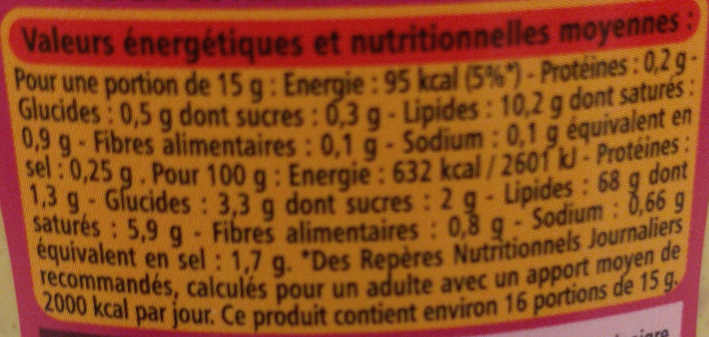 Sauce samouraï piquante - Nutrition facts - fr