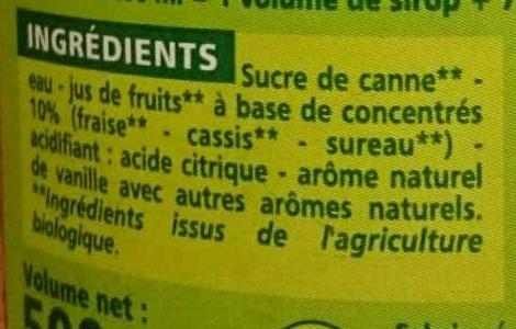 Sirop grenadine au sucre de canne - Inhaltsstoffe - fr
