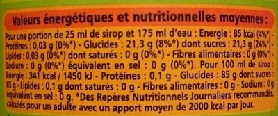 Sirop grenadine au sucre de canne - Nährwertangaben - fr