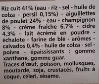 Aiguillettes de poulet, sauce normande et son riz - Ingrédients