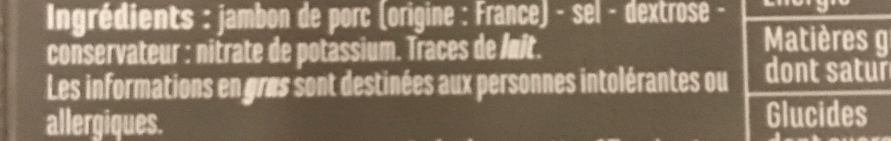 Jambon sec Label Rouge - Ingrediënten