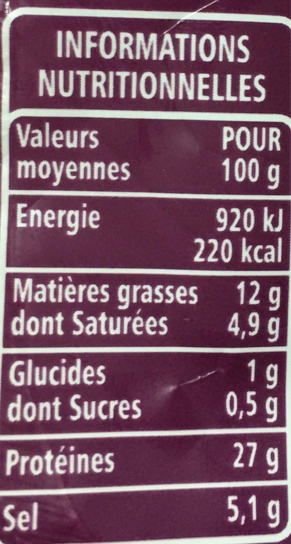 Jambon sec Label Rouge - Voedingswaarden