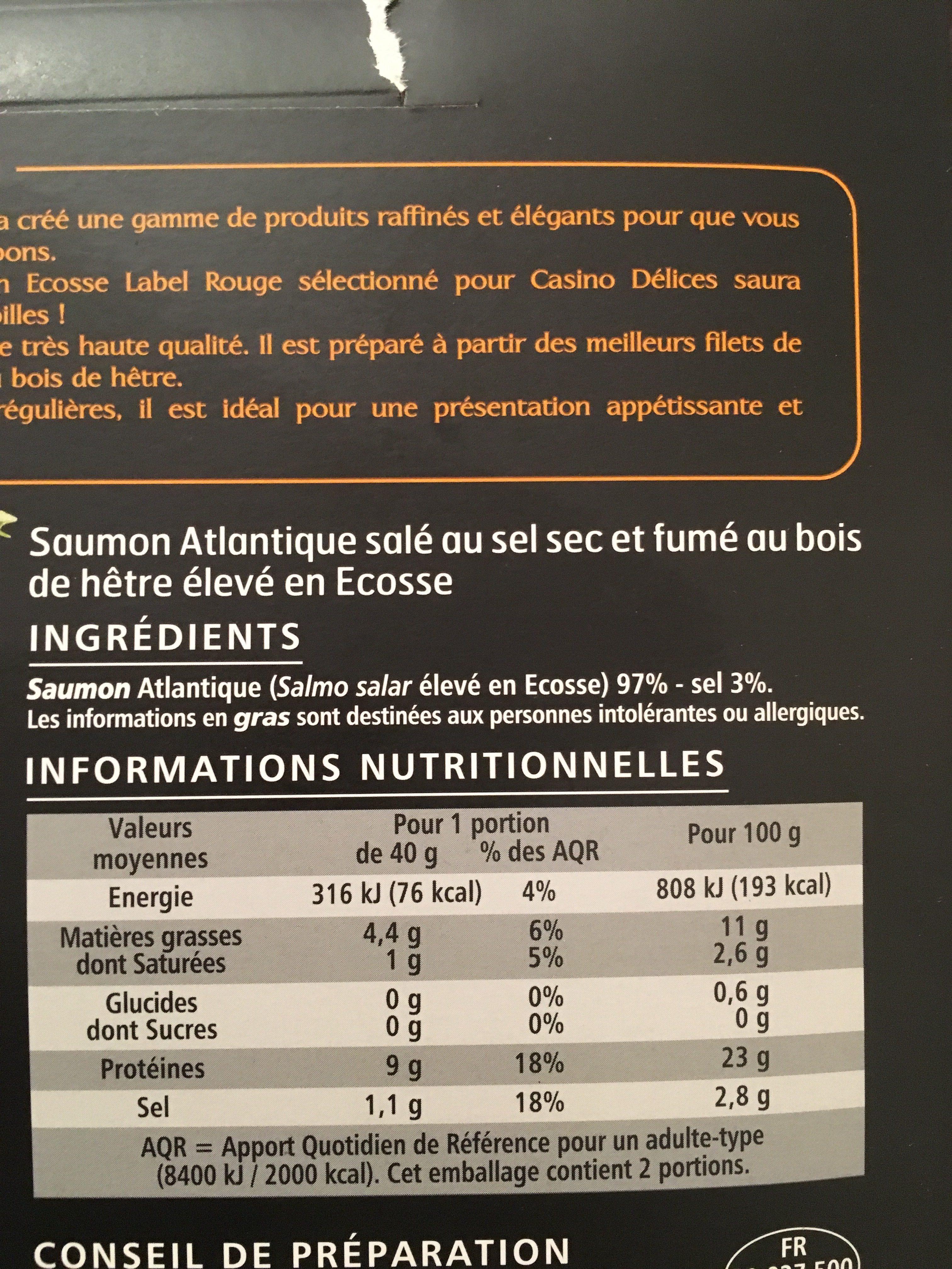 Saumon Atlantique fumé élevé en Ecosse - Ingredients