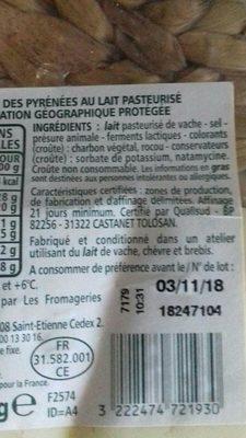 Tomme des Pyrénées IGP - Ingrédients - fr