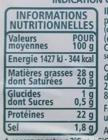 Tomme des Pyrénées IGP - Informations nutritionnelles - fr