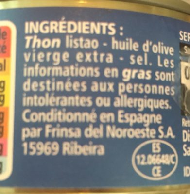 Thon entier à l'huile d'olive vierge extra - Ingrédients - fr