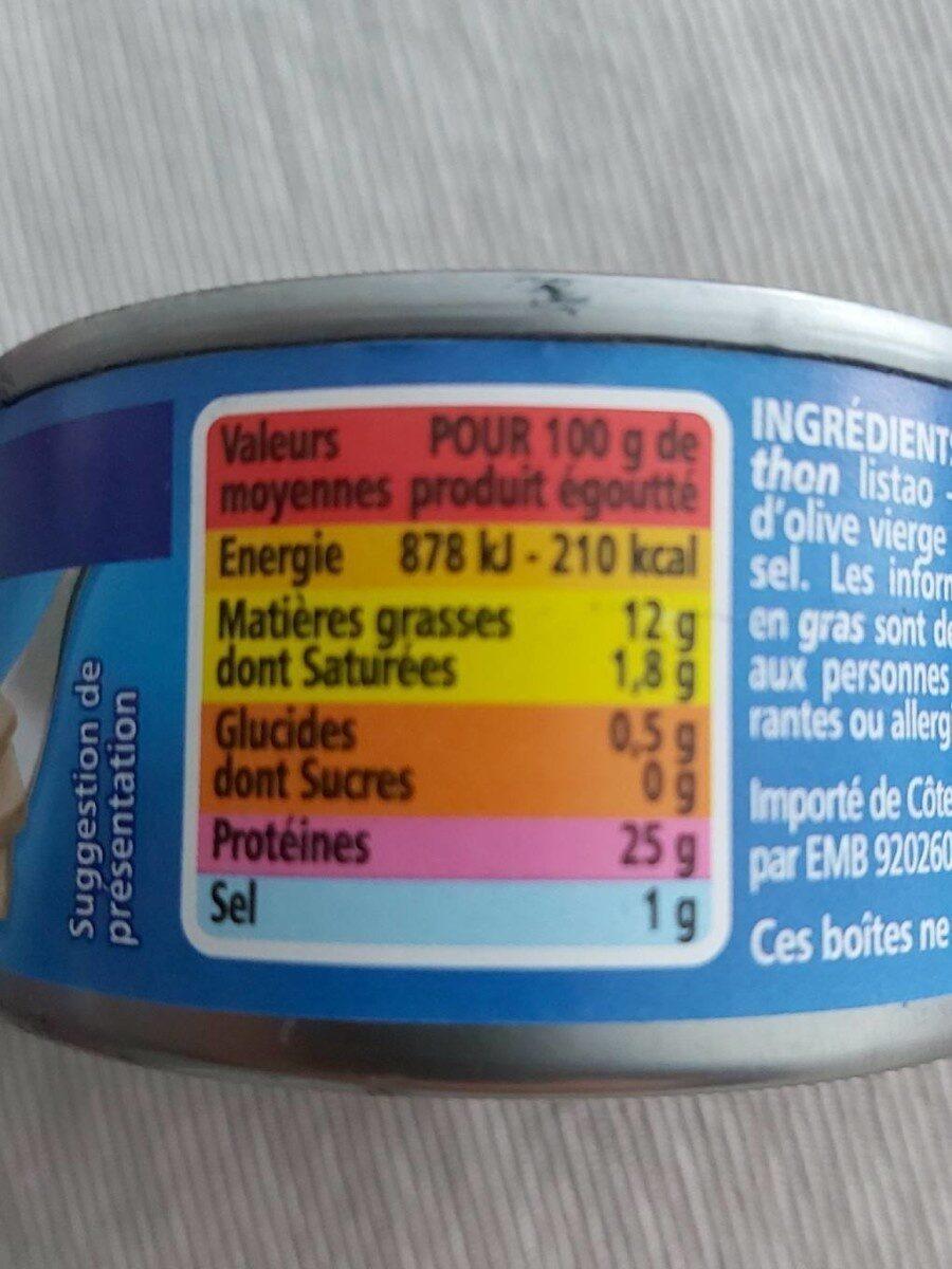Thon entier à l'huile d'olive vierge extra - Informations nutritionnelles - fr