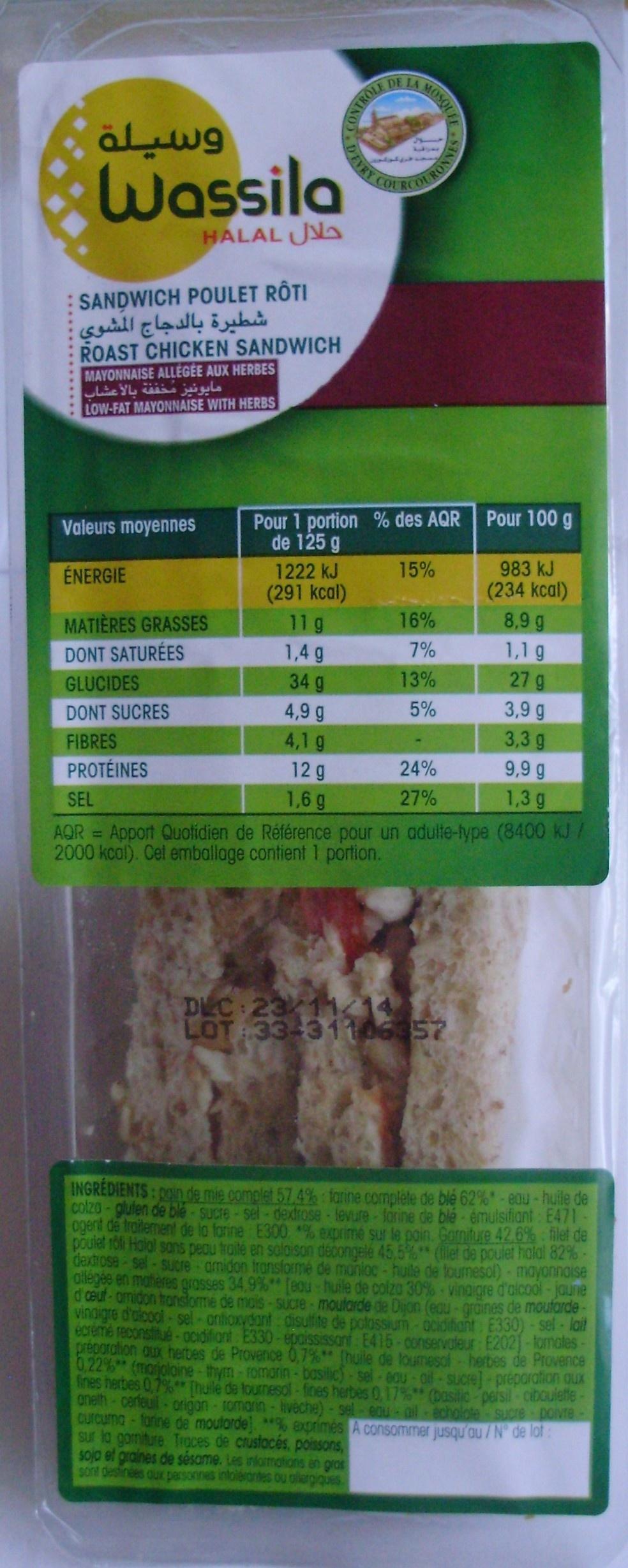 Sandwich Poulet rôti - Product - fr