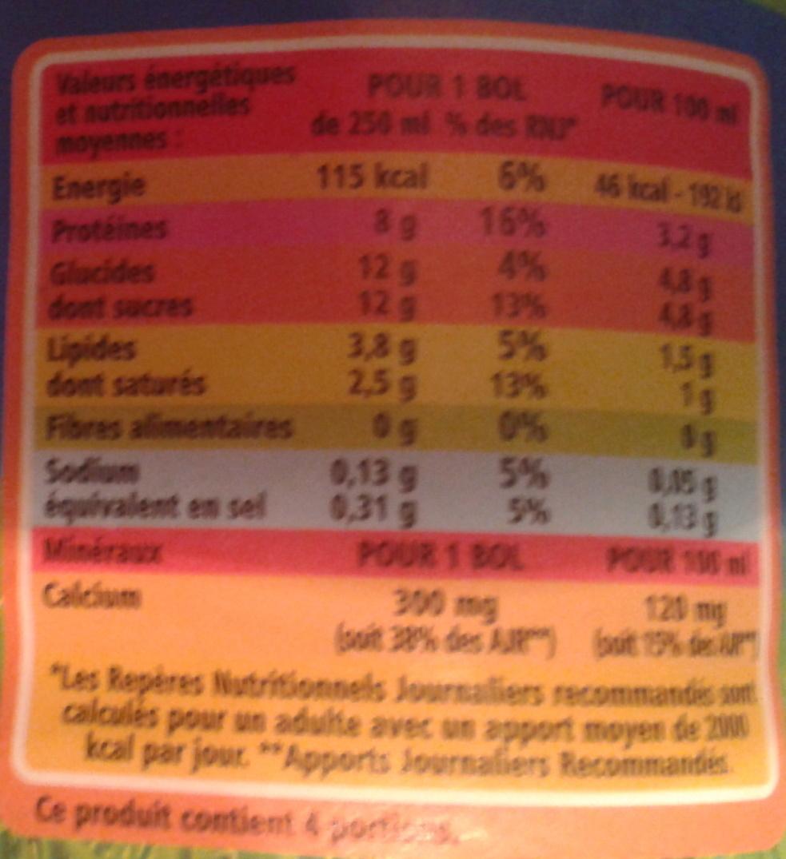 Lait demi-écrémé - Informations nutritionnelles - fr