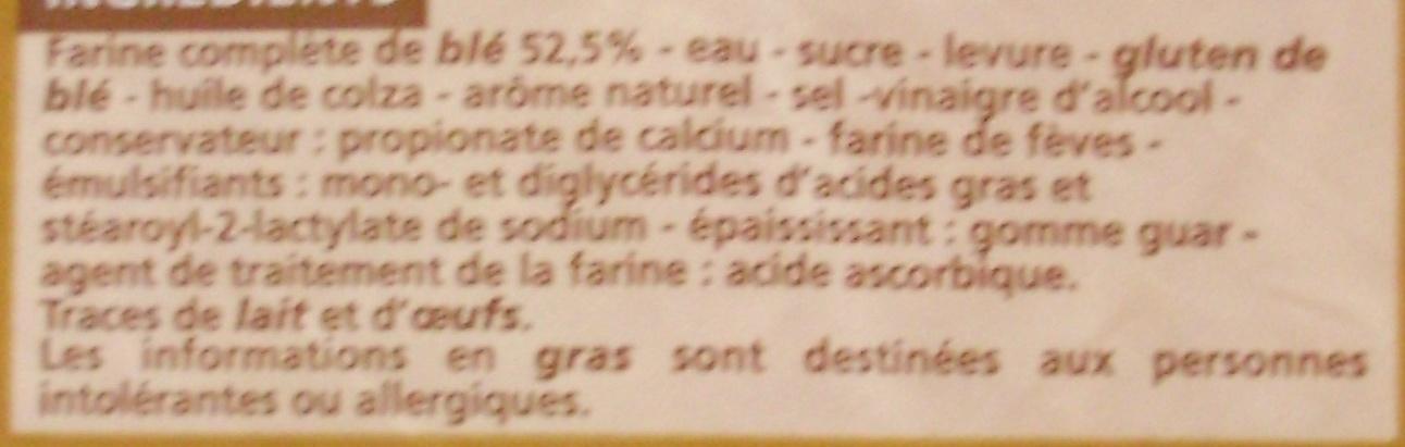 Extra mie Complet - sans croûte - 21 tranches - Ingrédients