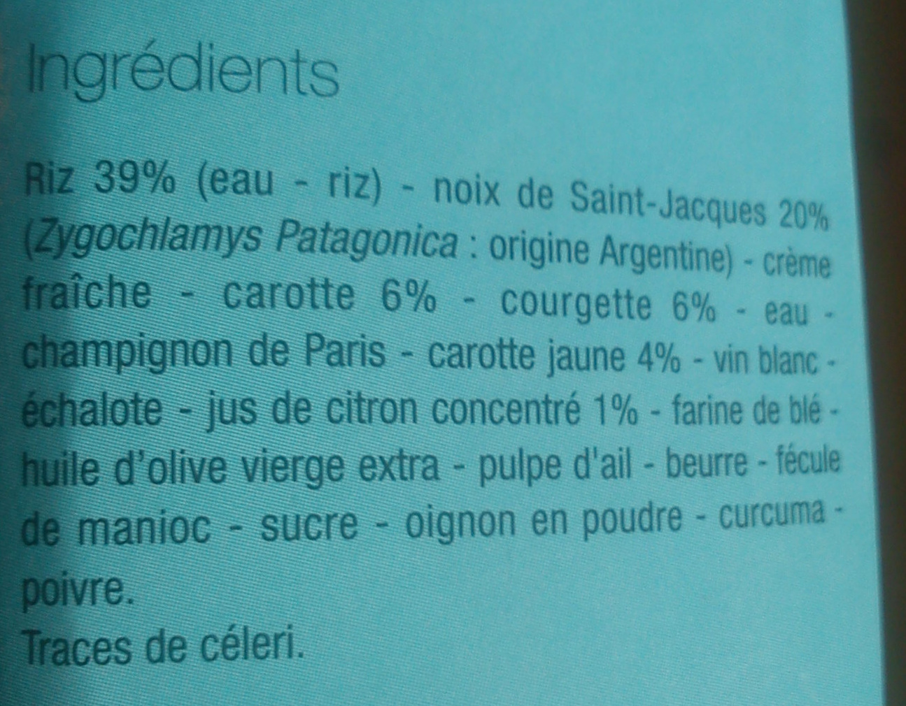 Noix de St Jacques, riz et légumes, sauce citron - Ingrédients - fr