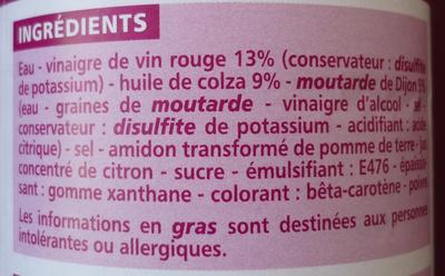 Sauce salade + allégée 10% MG - Ingrédients - fr