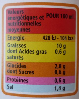 Sauce salade + allégée 10% MG - Informations nutritionnelles - fr