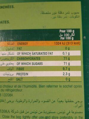 Dattes Deglet Nour - Nutrition facts