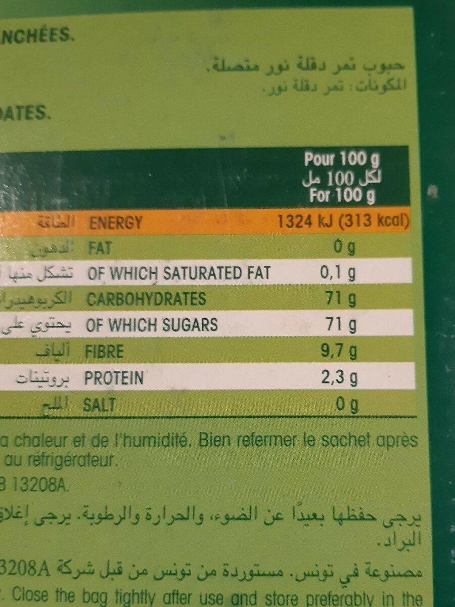Dattes Deglet Nour - Nutrition facts - fr