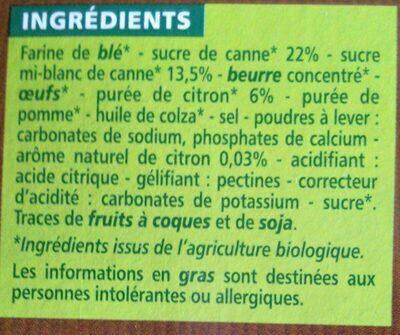 Tartelettes citron bio - au sucre de canne - Ingrédients