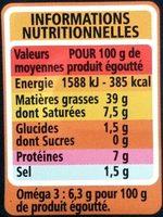 Foie de morue fumé au bois de hêtre MSC - Nutrition facts - fr