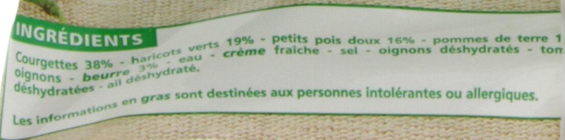 Purée 3 légumes verts cuisinée - Courgettes, haricots verts, petits pois doux - Ingrédients - fr