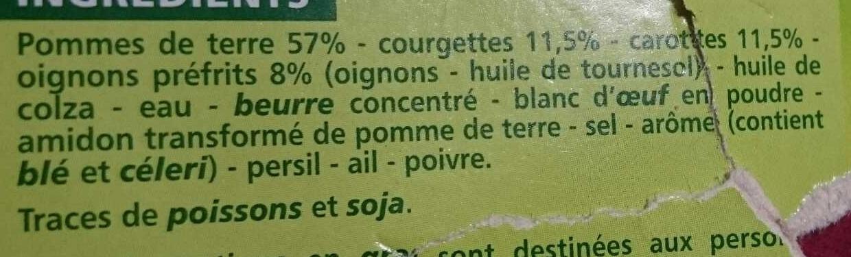 Râpés de légumes Pommes de terre - Courgettes - Carottes - Ingredients