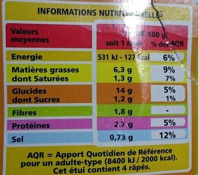 Râpés de légumes Pommes de terre - Courgettes - Carottes - Nutrition facts